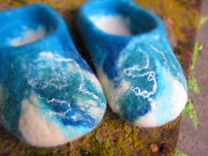 Blue and white felt slippers