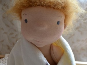 Bath time doll made out of felt