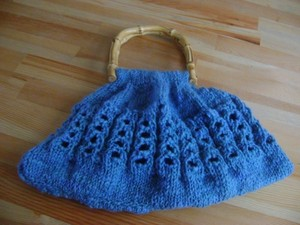 Blue wool bag with wooden handle