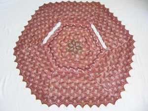 Pink yarn table cover