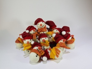 Felted Christmas snowmen in a bundle