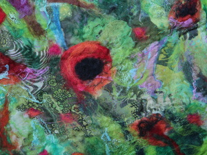 Felted poppies in the field