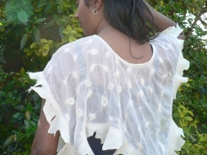 Super fine merino shawl with felt detail