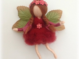 Felted red fairy with leaf wings
