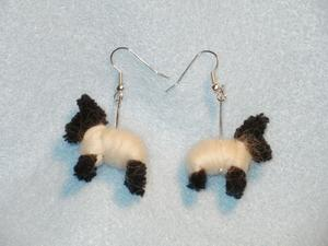 Felted dog earrings