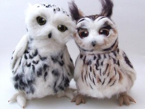 Twin owls created using fluffy fleece