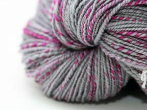 Grey and pink yarn