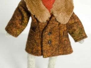 Felt dog in fur coat