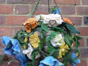 Hanging Basket Made Using Merino Wool