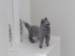 Grey Persian cat made out of felt