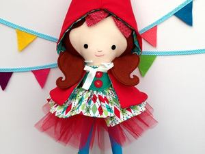 Felted little red riding hood doll
