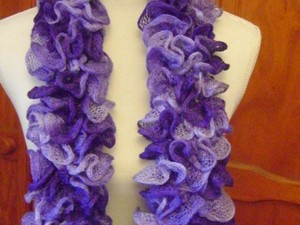 Handcrafted purple ruffled scarf