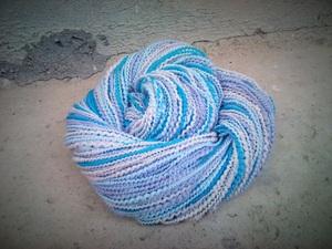Multi-coloured wool snood scarf