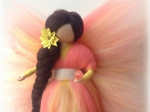 Orange and yellow felted fairy