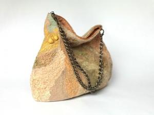 Cream felt handbag
