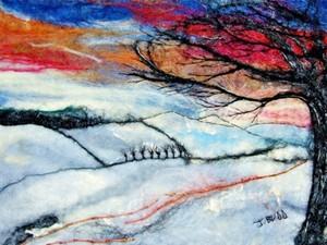Snowy windy day created by felt