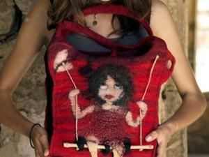 Girl on swing tote bag made out of felt