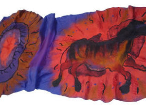 Black Horse Nuno Felted Scarf Front