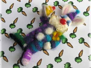 Felted clown mouse