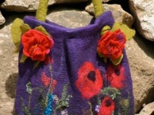 Purple flower felted handbag
