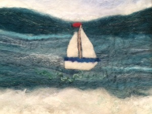 Sail Boat Sea Scape Using Nylon, Cotton And Silk To Create The Waves And Cotton And Wool For The Beach
