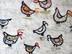 Chickens in the felted snow