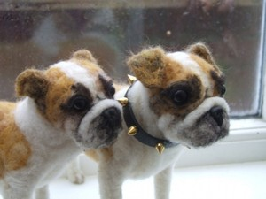 Twin bulldogs made out of felt material