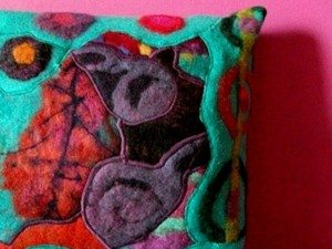 Abstract cushion made out of felt