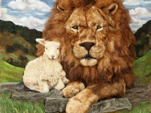 """Lion and lamb """"Peace in the Valley"""" Needle felted with mixture of merino, wensleydale, Jacobs and alpaca."""