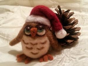 Felted Christmas owl
