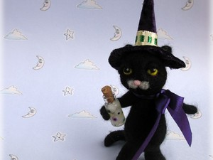 Cat dressed as a witch