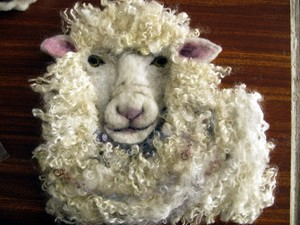 Fluffy felted sheep