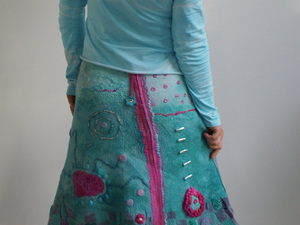 Felted blue and pink skirt