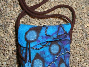 Blue Merino Bag With Double Strap Handle