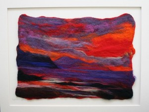 Red sky at night felted piece