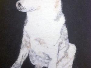 White dog created using felt