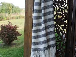 White and grey stripped scarf with tassel detail
