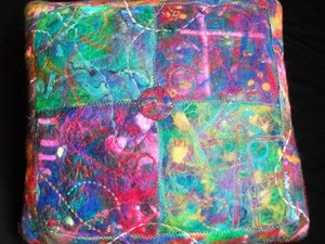 Colourful felted cushion