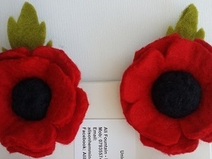 Felted poppies with broach