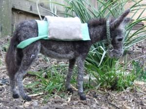 Felted donkey and saddle