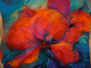 Close up of felted flowers