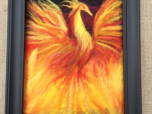 Phoenix Rising Wet Felted Using Merino Wool In A Variety Of Bright Colours On A Dark Base