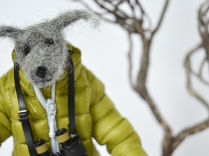 Sightseeing needle felted dog