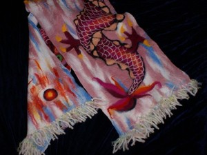 Natural silk scarf with dragon design