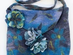 Blue flower satchel handbag made out of felt