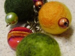 Bracelet with felted balls
