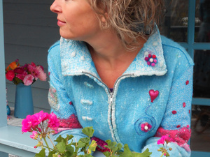 Blue and pink felted jacket with zip up detail