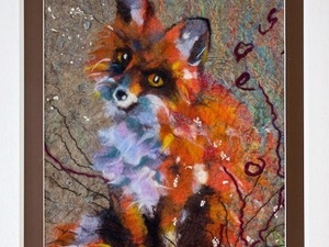 Close up of felted fox