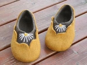 Yellow and grey felted slippers