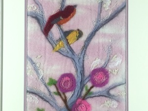 Felted birds on branch